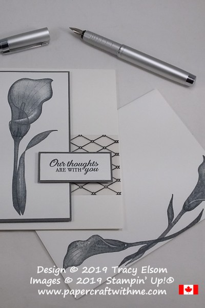 Simple black and white sympathy card with Our Thoughts are With You sentiment and arum lily image from the Lasting Lily Stamp Set from Stampin' Up!