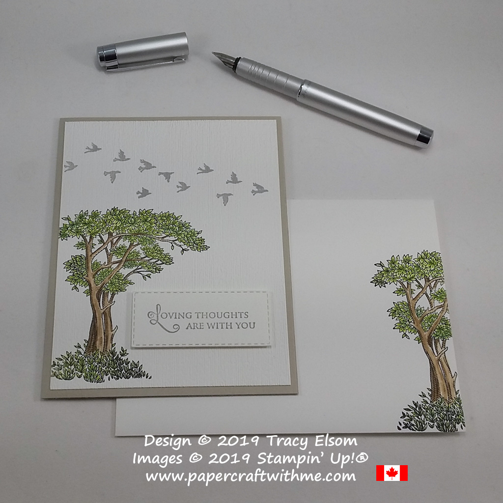 Card with loving thoughts sentiment, birds and painted tree from the Golden Afternoon Stamp Set from Stampin' Up!