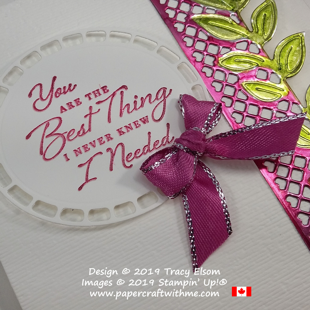 Close up of coloured foil Valentine's card created using Stampin' Blends with the Wonderful Romance Stamp Set and coordinating Wonderful Floral Framelits from Stampin' Up!