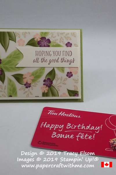 Floral giftcard envelope created using printed vellum from the Floral Romance Specialty DSP and sentiment from the All The Good Things Stamp Set from Stampin' Up!