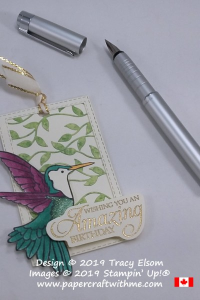 Large gift tag using custom-coloured leafy trellis, with hummingbird and birthday sentiment from the Humming Along Stamp Set from Stampin' Up!