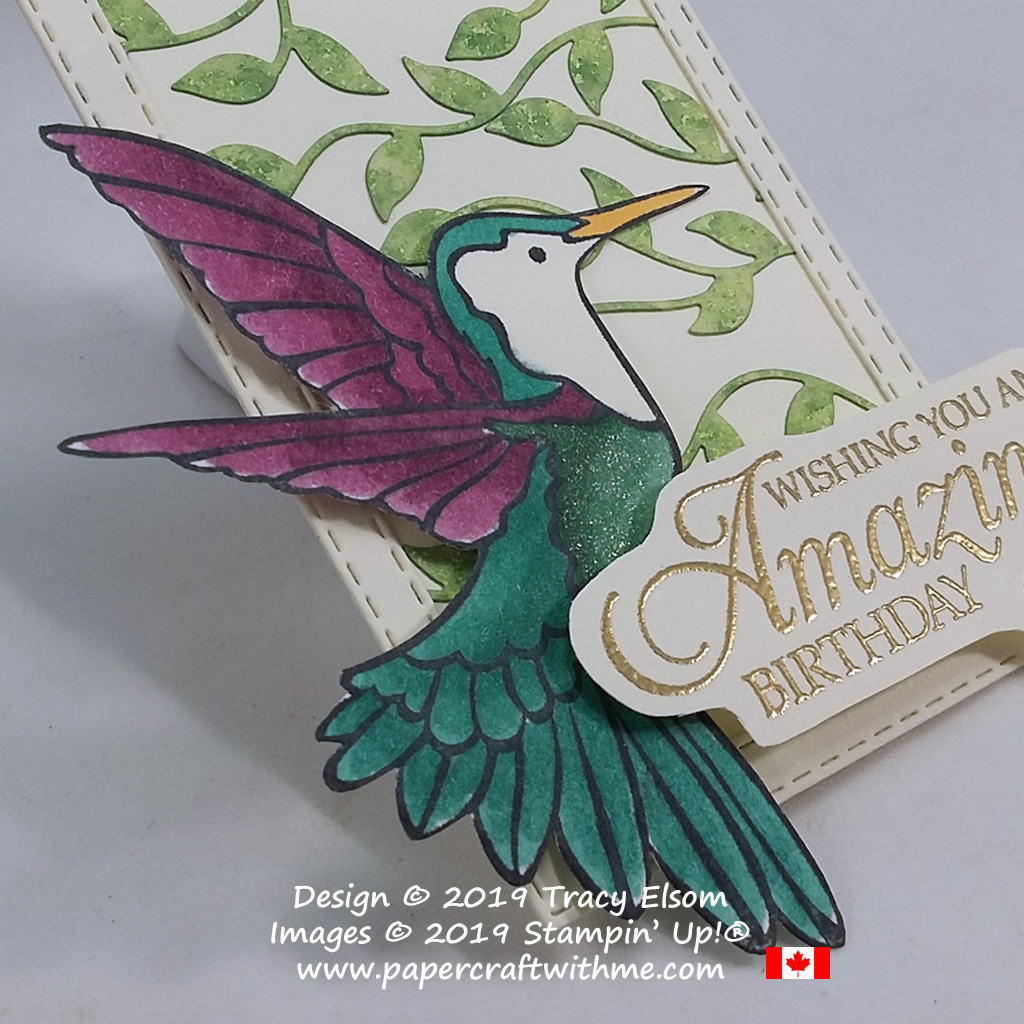 Close up of large gift tag using custom-coloured leafy trellis, with hummingbird and birthday sentiment from the Humming Along Stamp Set from Stampin' Up!