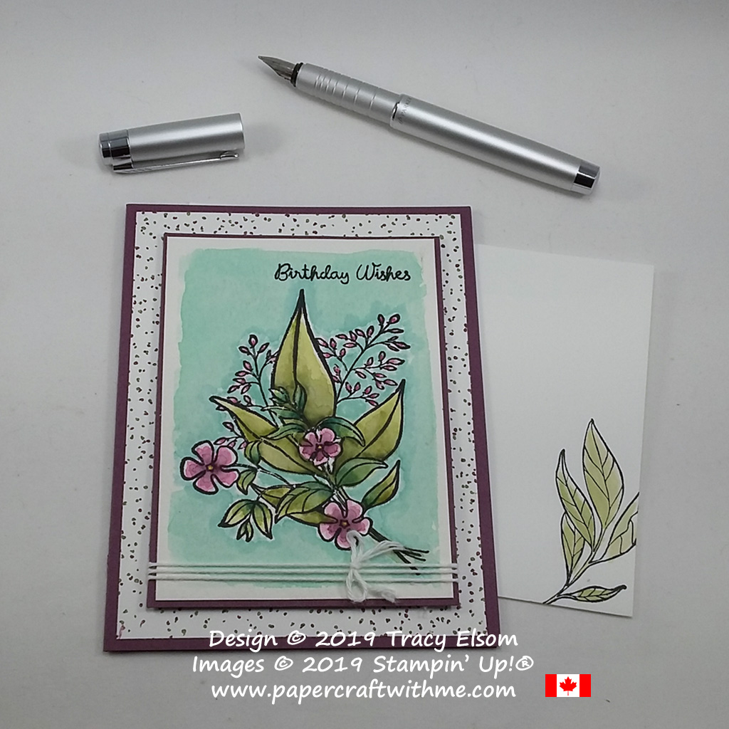 Birthday card created using Stampin' Write Markers and the Wonderful Romance Stamp Set from Stampin' Up! to create a watercoloured effect.