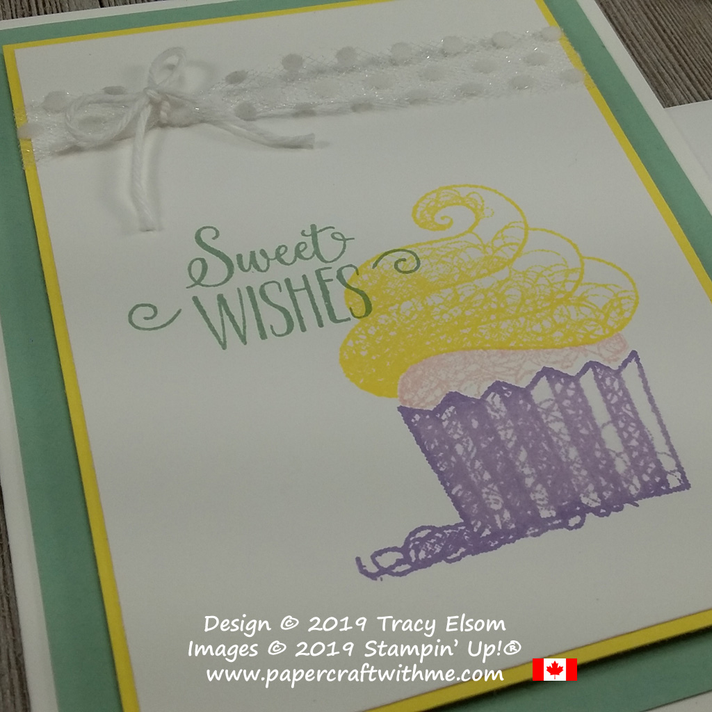 Close up of simple card with image and sweet wishes sentiment from the Hello Cupcake Stamp Set from Stampin' Up! Stamp set available for free until March 31st with coordinating dies also available to buy while stocks last.