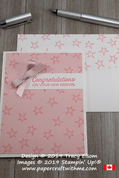 Simple baby card with Congratulations On Your New Arrival sentiment and stars from the Better Together Stamp Set from Stampin' Up! #simplestamping