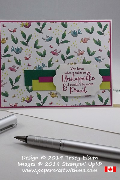 Simple card layout with Unstoppable & Proud sentiment from the Strong & Beautiful Stamp Set from Stampin' Up!