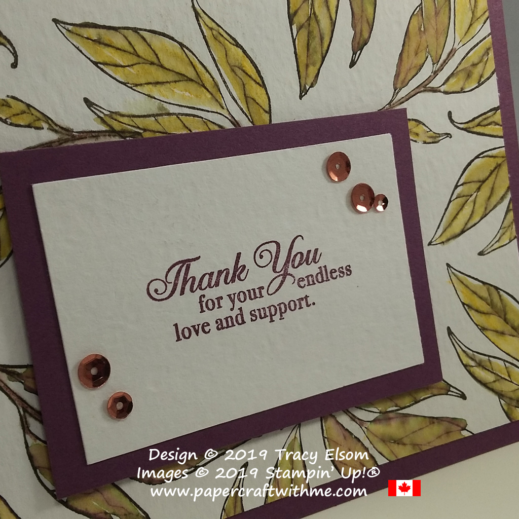 Close up of leafy thank you card created using the Wonderful Romance and (free) Lasting Lily Stamp Sets from Stampin' Up!