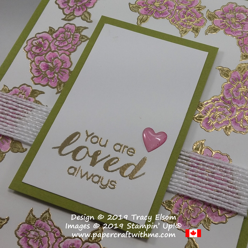 Close up of floral heat embossed card created using the Vibrant Vases Stamp Set from Stampin' Up!