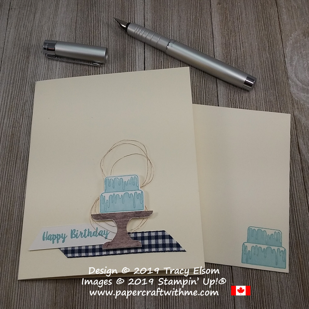 Simple blue birthday cake on this card created using the Piece of Cake Stamp Set and coordinating Cake Builder Punch from Stampin' Up!