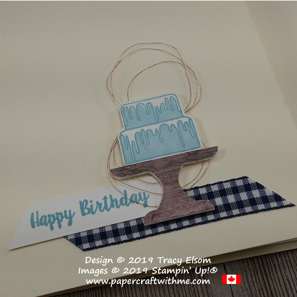 Close up of simple blue birthday cake on this card created using the Piece of Cake Stamp Set and coordinating Cake Builder Punch from Stampin' Up!