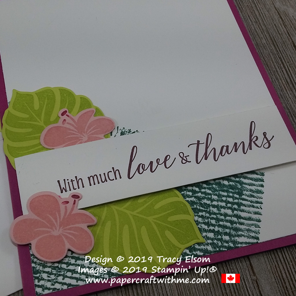 Close up of love and thanks card created with the retiring 2017-2019 InColors, using the Burlap and Tropical Chic Stamp Sets and the coordinating Tropical Thinlits Dies, all from Stampin' Up!