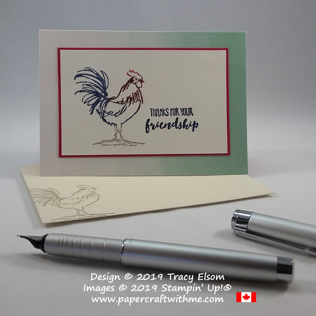 Friendship thanks notecard featuring a multi-coloured rooster image with copper embossing created using the Home To Roost Stamp Set from Stampin' Up!