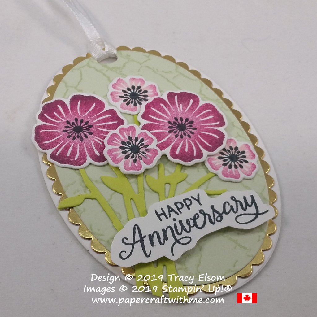 Close up of anniversary gift tag created using the Beautiful Bouquet Stamp Set and coordinating Bouquet Bunch Framelits Dies from Stampin' Up!