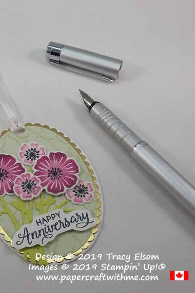Anniversary gift tag created using the Beautiful Bouquet Stamp Set and coordinating Bouquet Bunch Framelits Dies from Stampin' Up!