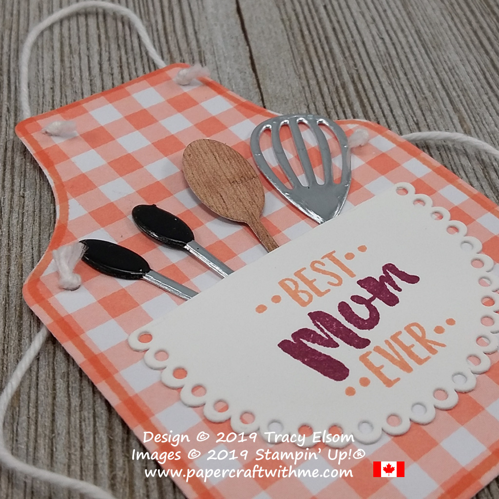 Mini die-cut wooden spoon and other kitchen utensils in a Best Mum Ever gift tag. Created using the Apron of Love Stamp Set and coordinating Apron Builder Framelits from Stampin' Up!