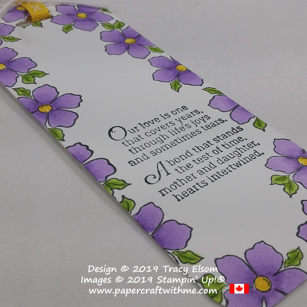 Close up of Mother's Day bookmark created using the Tea Together Stamp Set from Stampin' Up!