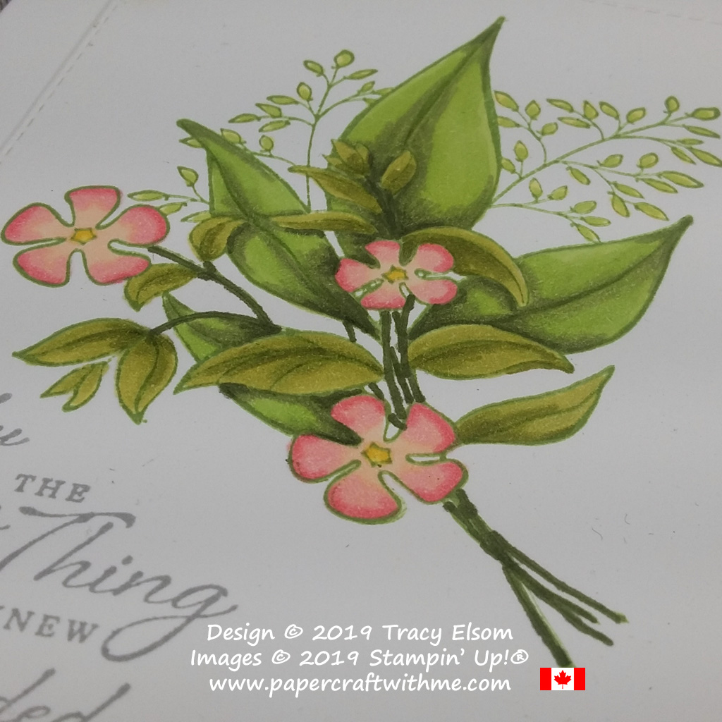 Close up of large floral image from the Wonderful Romance Stamp Set coloured using Stampin' Blends alcohol markers.