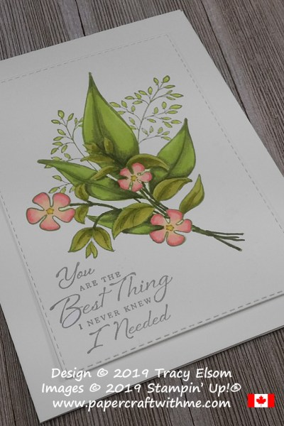 Card front with large floral image from the Wonderful Romance Stamp Set coloured using Stampin' Blends alcohol markers.