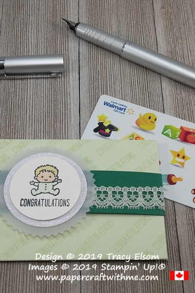 Baby congratulations gift card holder created using the Family & Friends Stamp Set from Stampin' Up!
