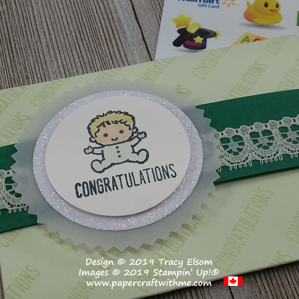 Close up of baby congratulations gift card holder created using the Family & Friends Stamp Set from Stampin' Up!