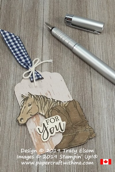 Layered gift tag with horse and boots images from the Let It Ride and Country Livin' Stamp Sets from Stampin' Up!