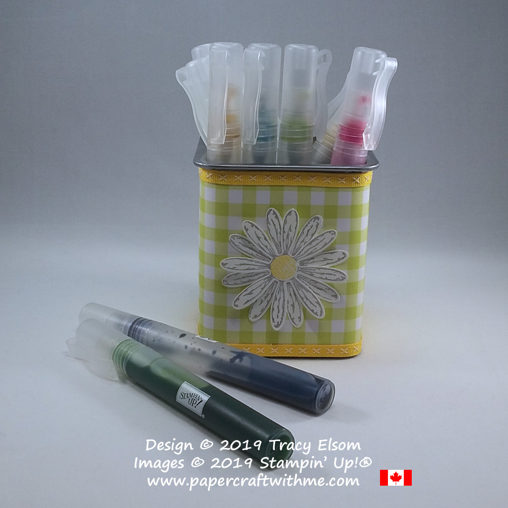 Square spritzer storage pot decorated using the Daisy Delight Stamp Set from Stampin' Up!