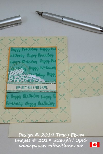 Birthday card with simple cake image and sentiments from the Piece of Cake Stamp Set with a background design of crossed spoons from Stampin' Up!