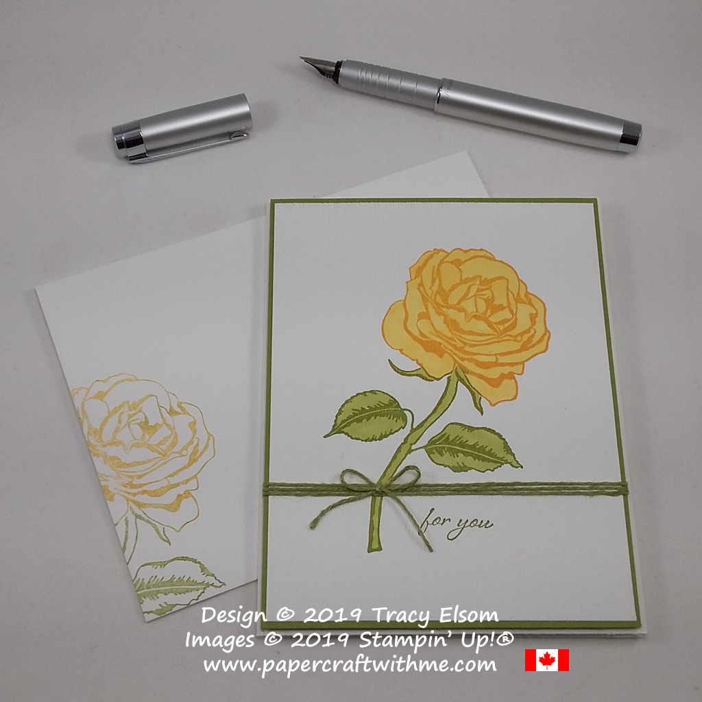 Yellow rose from the Graceful Garden Stamp Set, coloured using Stampin' Blends and textured with the Subtle Embossing Folder, all from Stampin' Up!