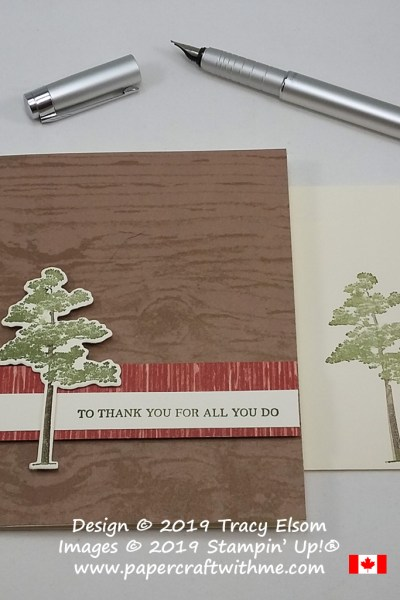 Simple card with lone pine tree and 'To thank you for all you do' sentiment from the Rooted In Nature Stamp Set and coordinating Nature's Roots Dies from Stampin' Up!