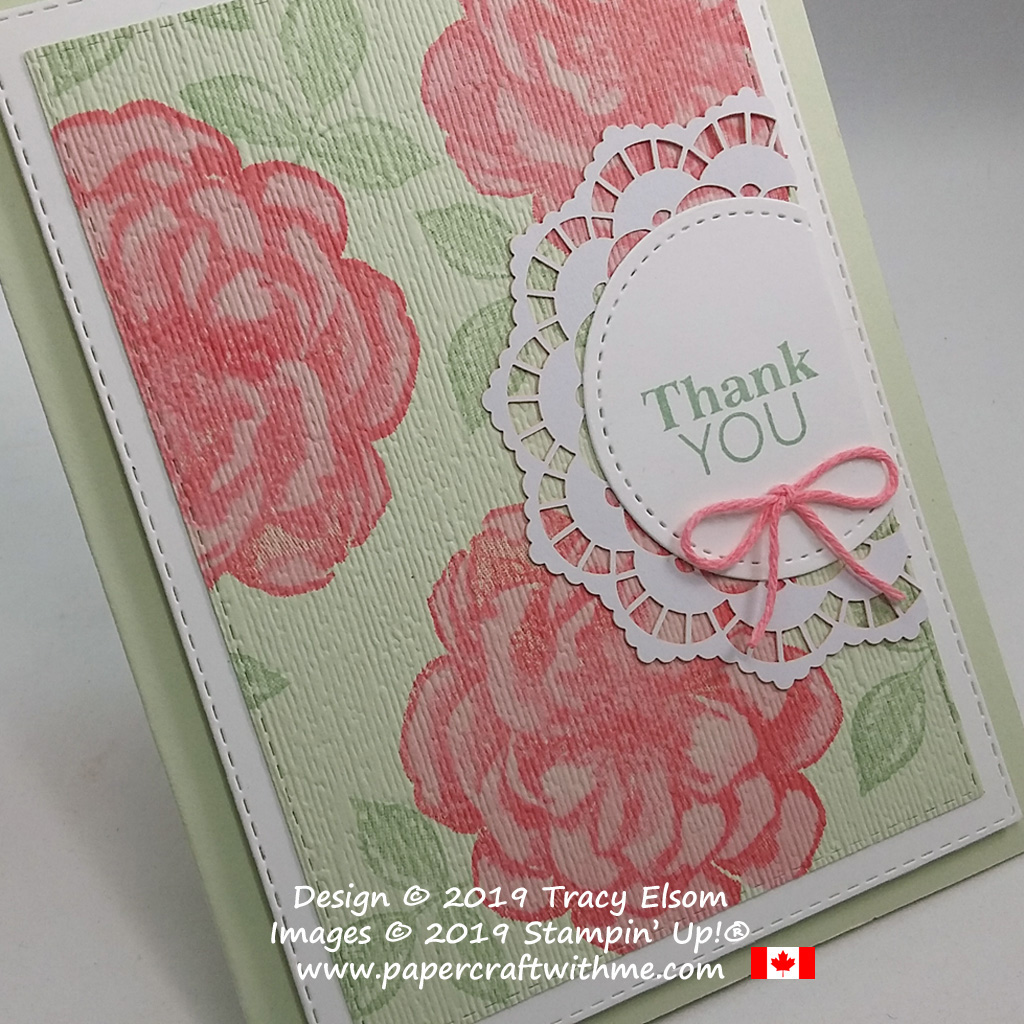 Close up of thank you card created using stamps from the April 2019 Paper Pumpkin Kit - Sentimental Rose.