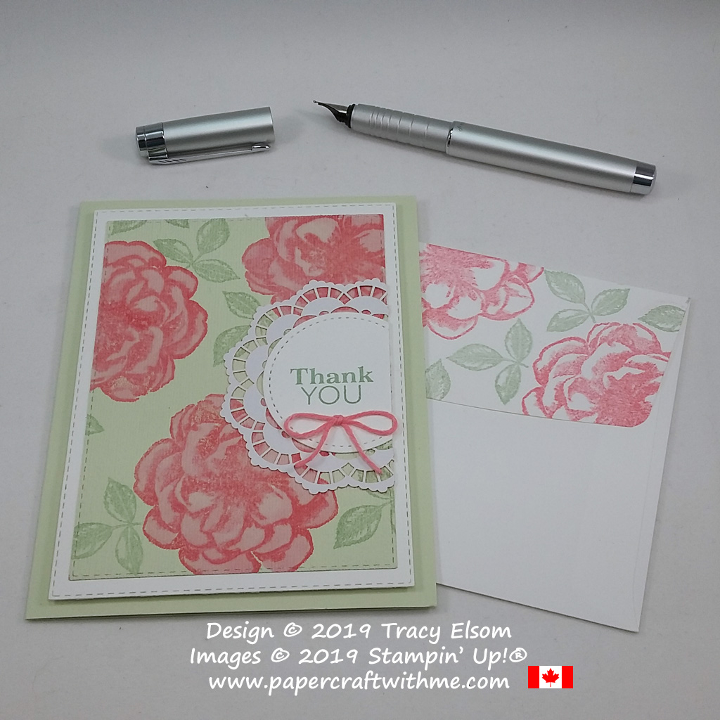 Thank you card created using stamps from the April 2019 Paper Pumpkin Kit - Sentimental Rose.