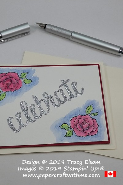 Celebration card with watercoloured roses from the Tea Together Stamp Set and die-cut sentiment from the Celebrate You Thinlits from Stampin' Up!
