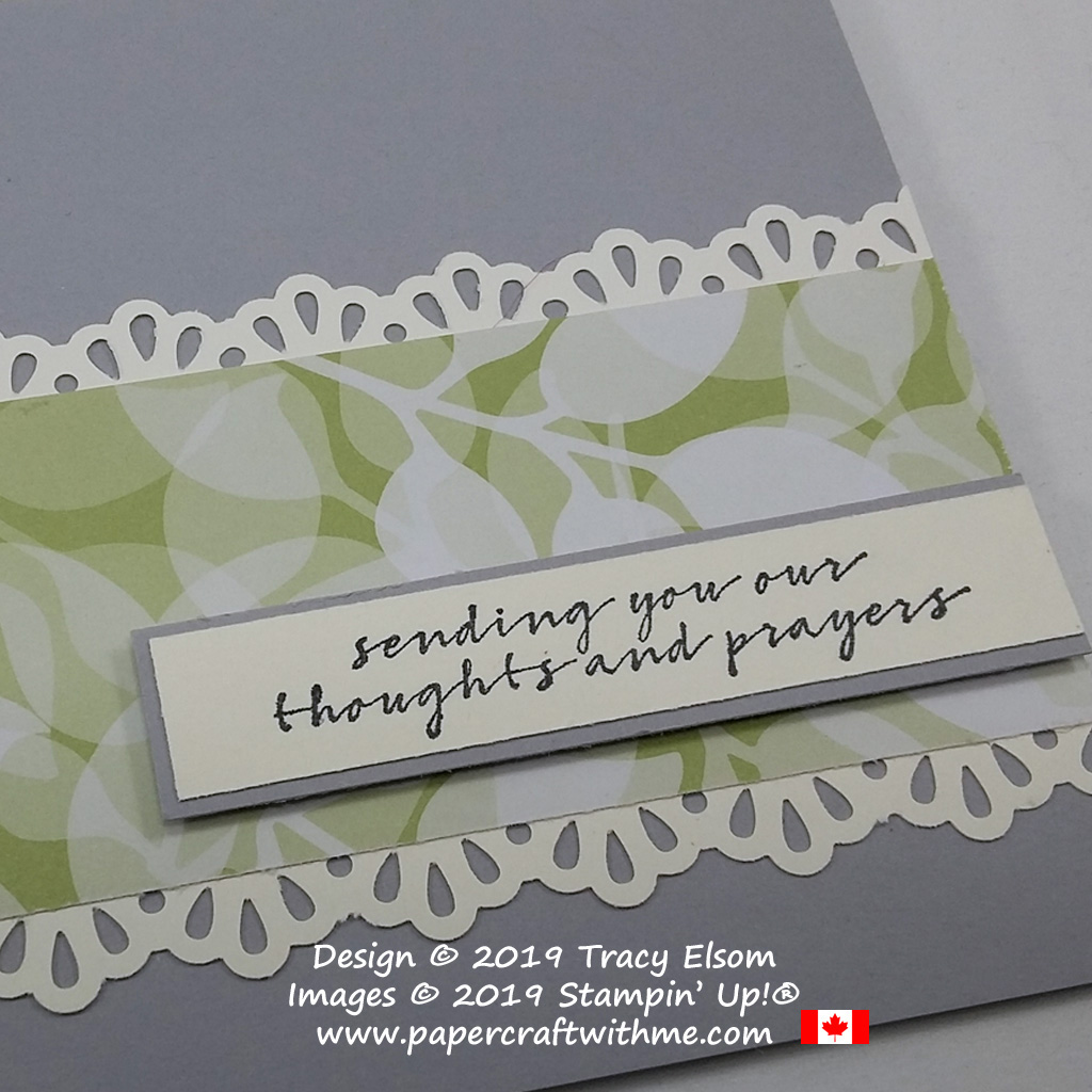 Close up of thoughts and prayers card created using the Wishing You Well Stamp Set from Stampin' Up!