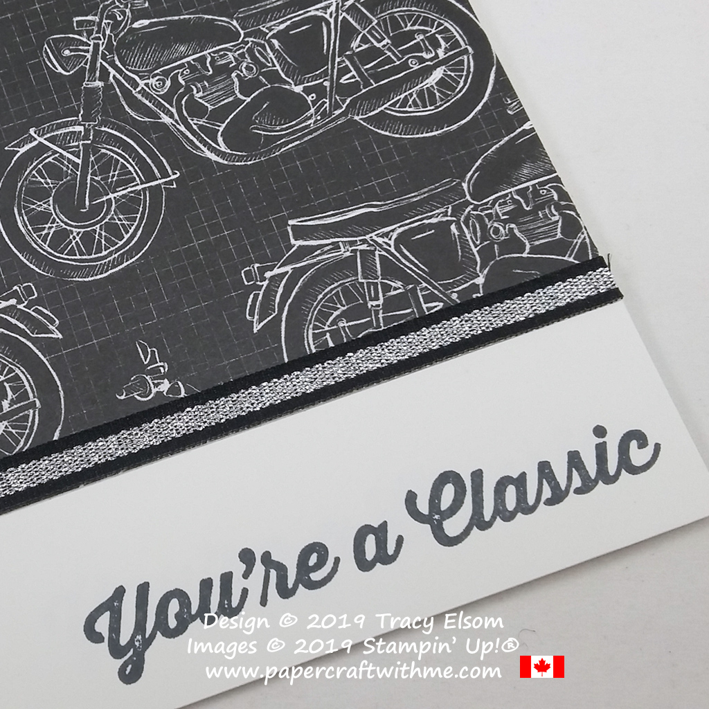 Close up of motorcycle themed card with 'You're a Classic' sentiment from the Geared Up Garage Stamp Set from Stampin' Up!
