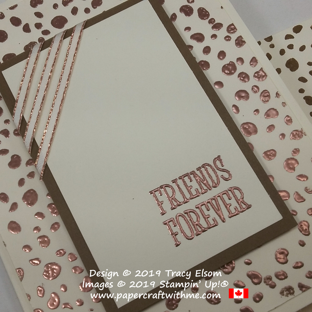 Close up of copper animal print Friends Forever card created using the Happy Tails Stamp Set from Stampin' Up!