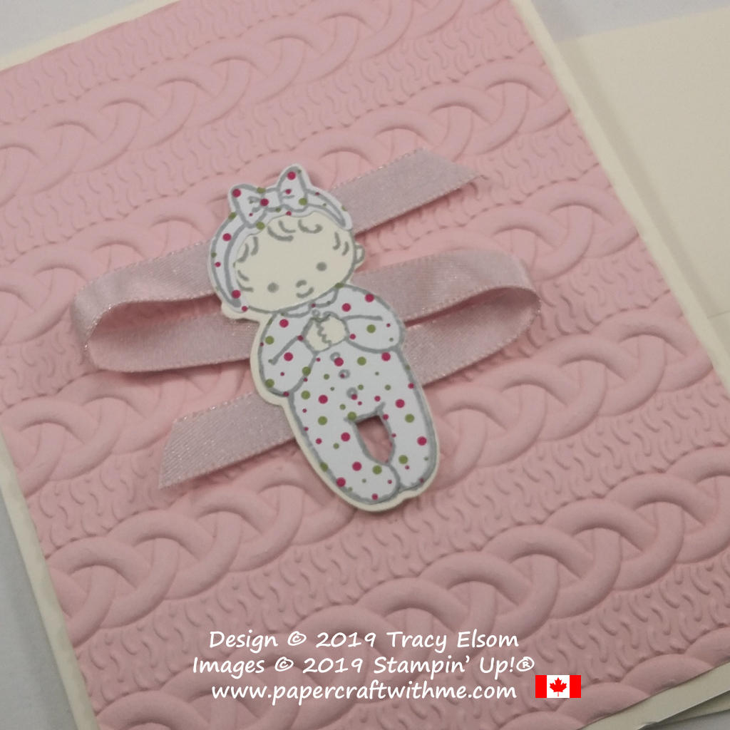 Close up of baby girl card created using the Sweet Baby Stamp Set and coordinating Bouncing Baby Framelits. The background uses the Cable Knit Dynamic Embossing Folder. All from Stampin' Up!
