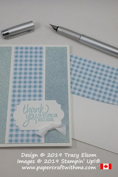 Simple card with 'thank you for welcoming our newest arrival' sentiment from the All Things Thanks Stamp Set by Stampin' Up!