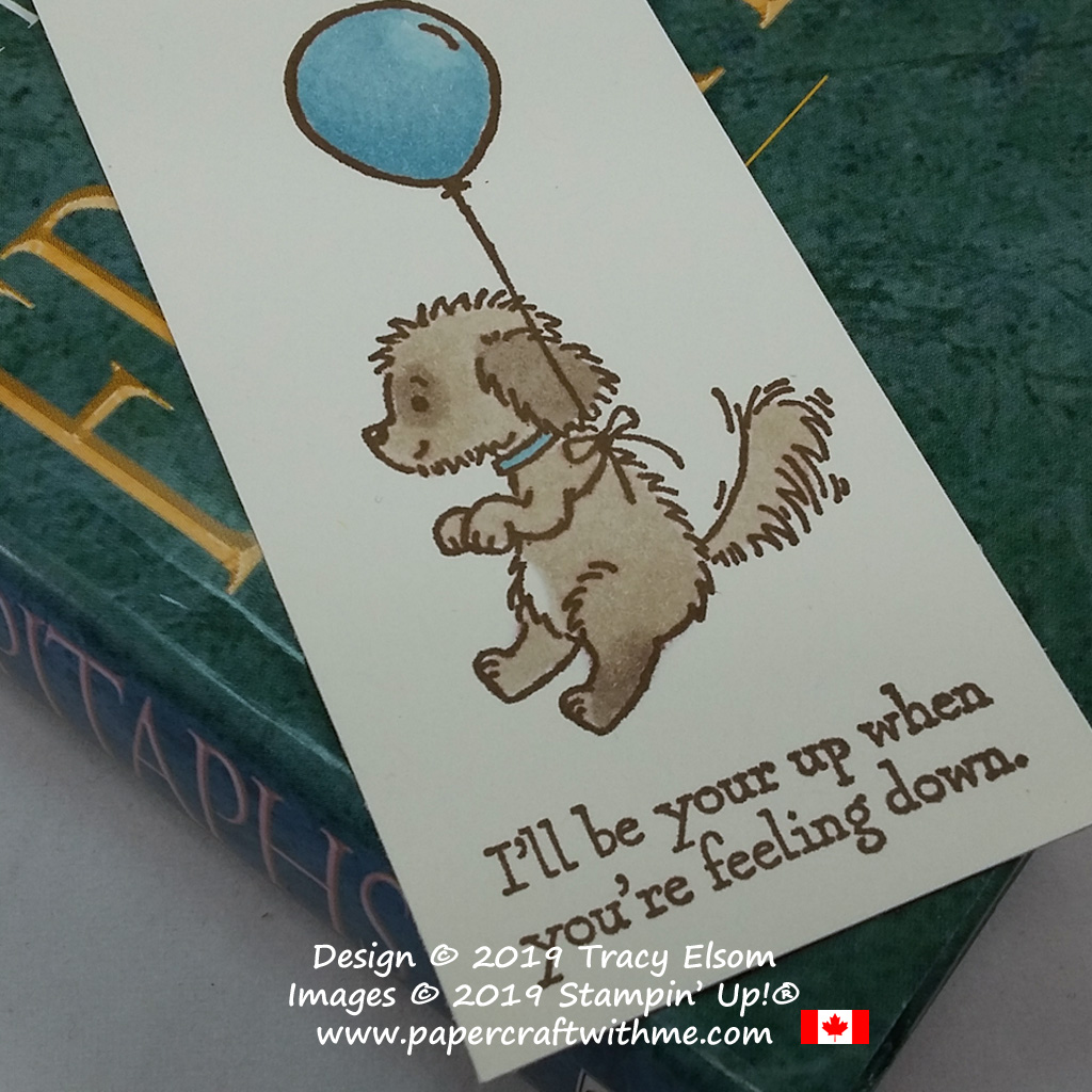 Close up of dog bookmark created using the Bella & Friends Stamp Set coloured with Stampin' Blends from Stampin' Up!