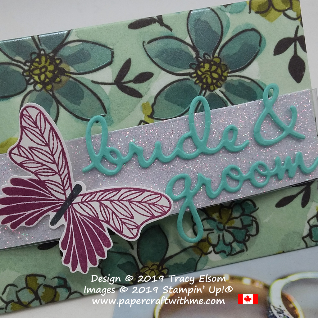 Close up of bride & groom gift card envelope created using the Well Written Dies and butterfly from the Butterfly Gala Stamp Set from Stampin' Up!