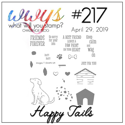 Logo for What Will You Stamp? challenge WWYS217- Happy Tails (April 29 to May 4, 2019)