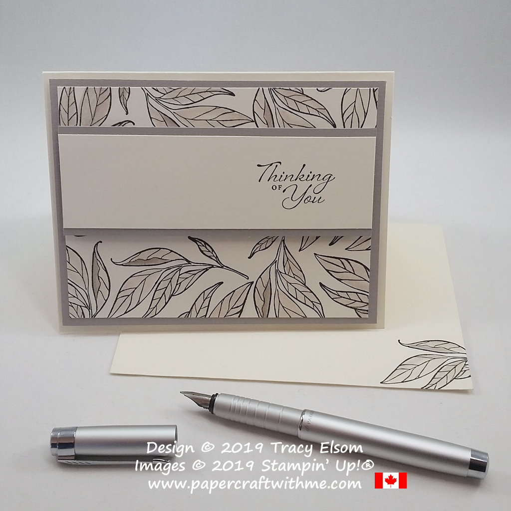 Simple thinking of you card created using the Wonderful Romance Stamp Set and Gray Granite ink from Stampin' Up!