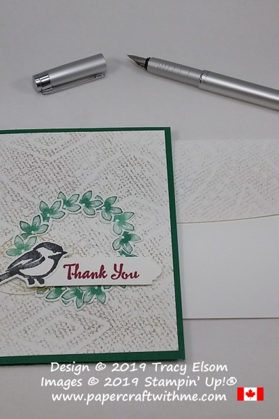 Thank you card with a chickadee and wreath created using the Petal Palette Stamp Set and coordinating Petals & More Thinlits Dies from Stampin' Up!
