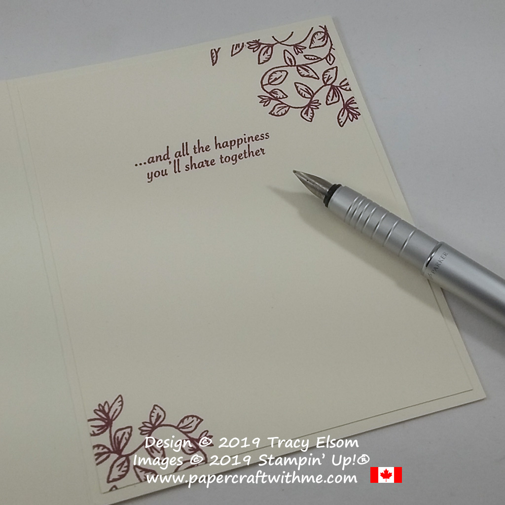 Inside of 'wonderful couple' wedding / anniversary card created using the Verdant Garden Stamp Set from Stampin' Up!