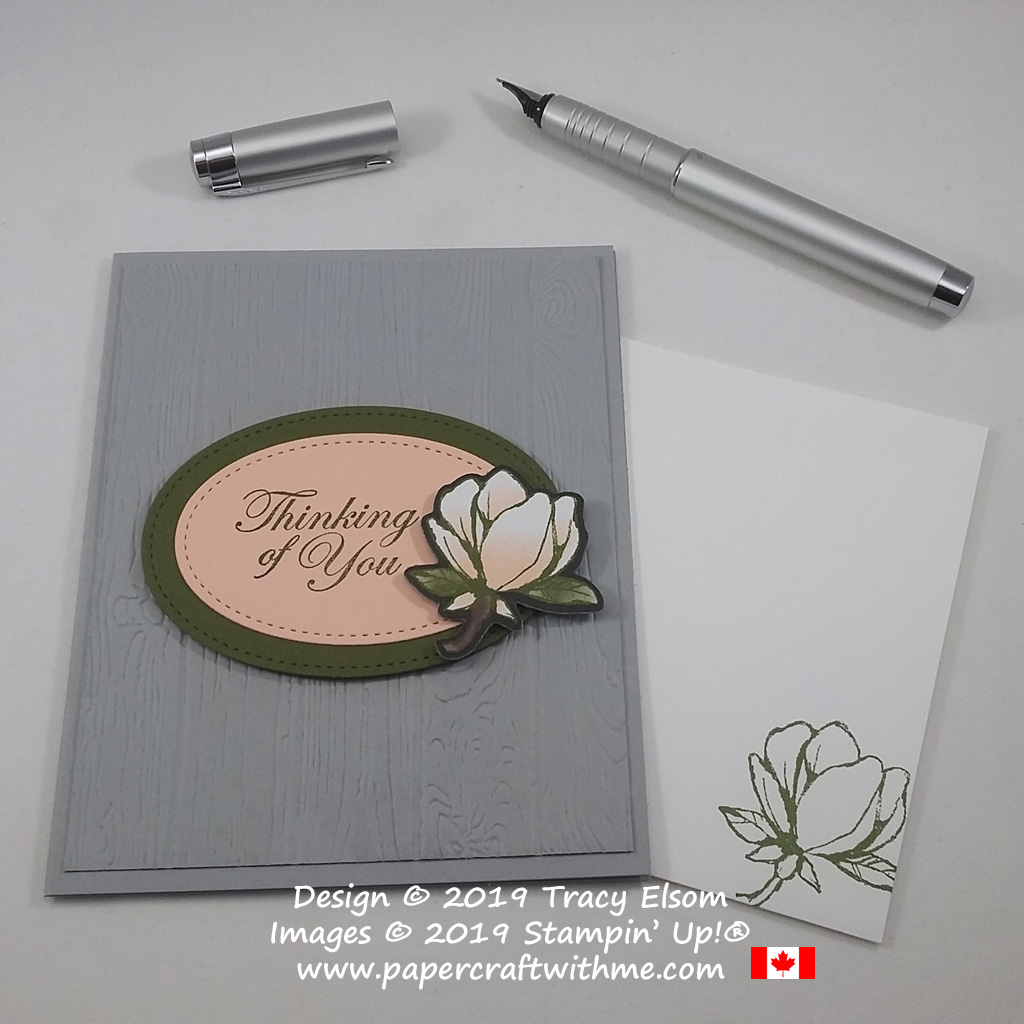 Thinking of You card created using the Good Morning Magnolia Stamp Set, Magnolia Memory Dies and Magnolia Lane DSP from Stampin' Up!