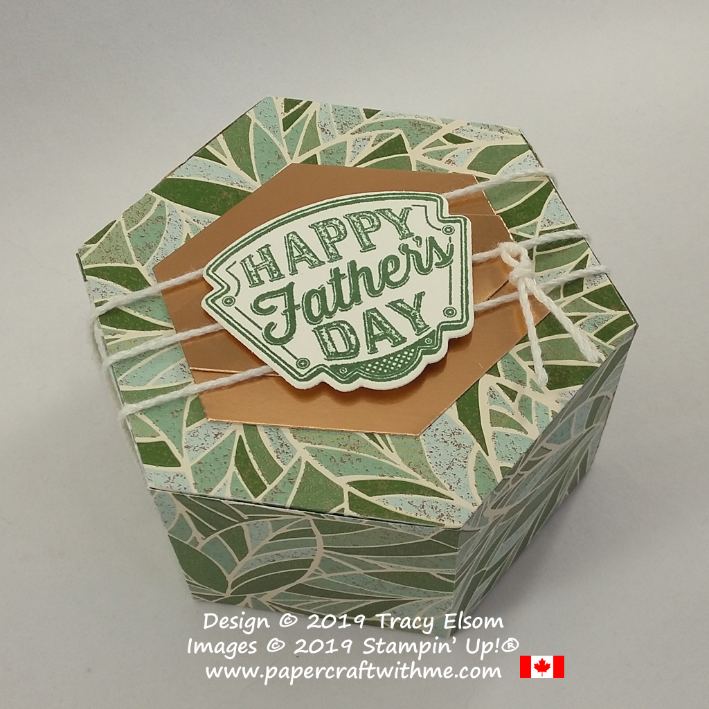 Hexagonal Father's Day gift box created using the Window Box Thinlits and Geared Up Garage Stamp Set from Stampin' Up!