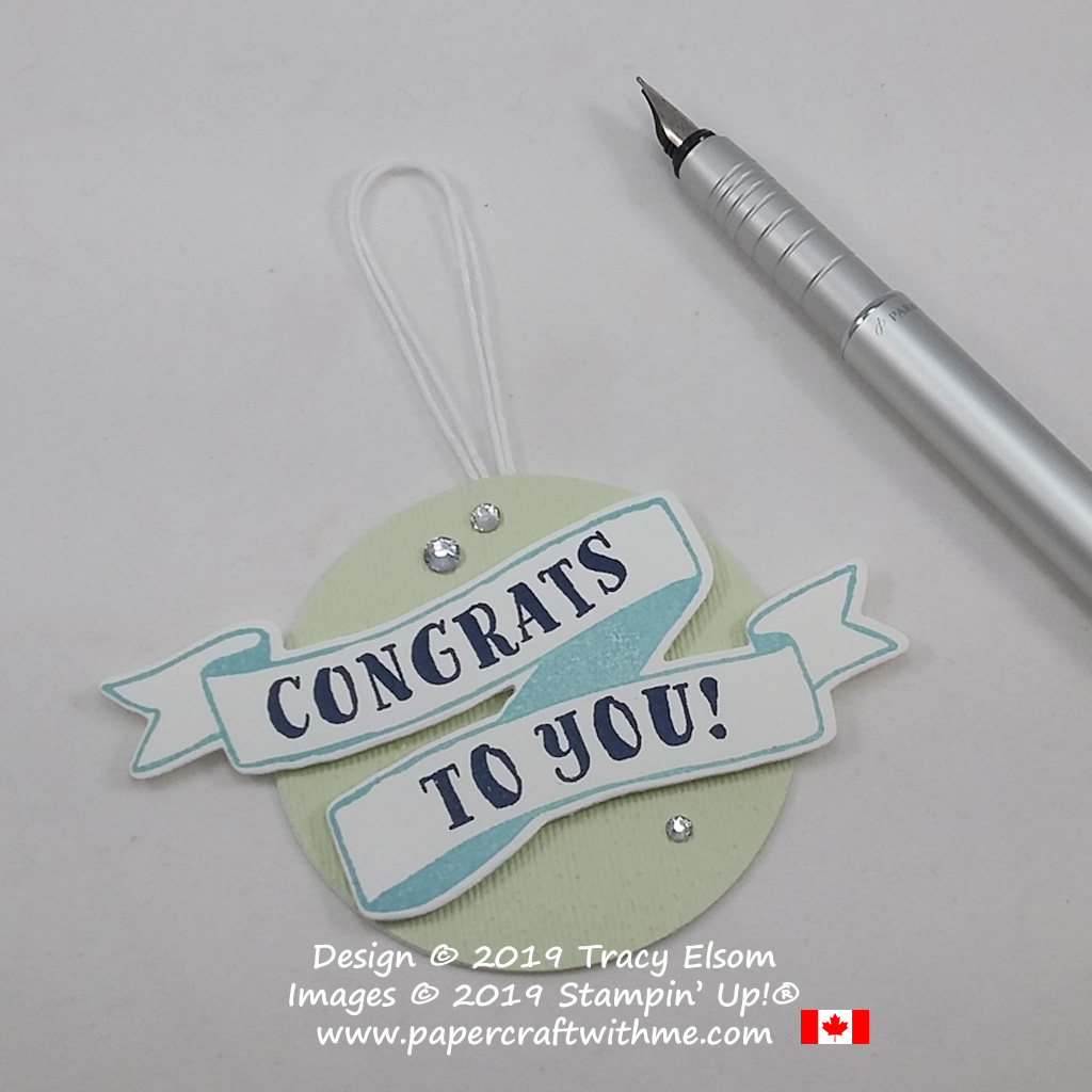 Congrats to You gift tag created using the Banners for You Stamp Set and coordinating Bunch of Banners Framelits Dies from Stampin' Up!. Make it in school colours for a new graduate gift.