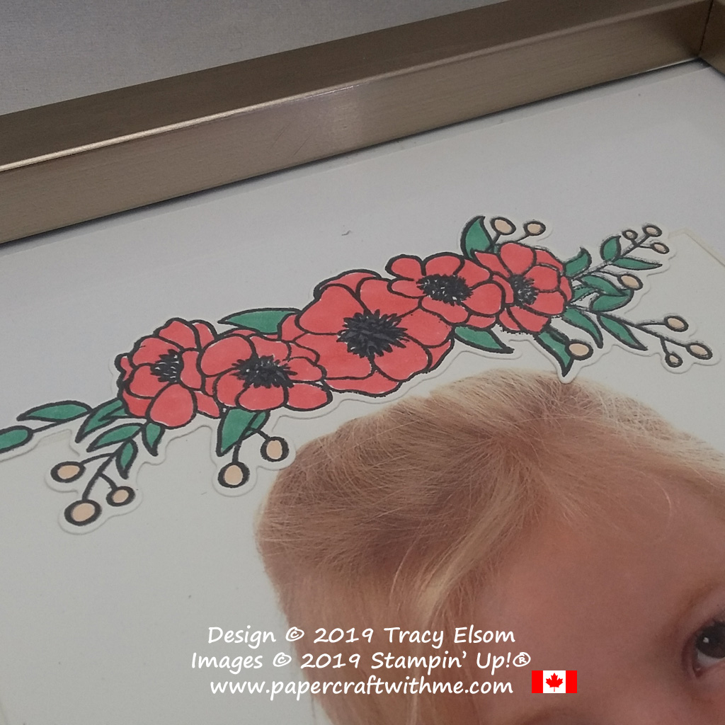 Close up of poppy image from the Bloom & Grow Stamp Set from Stampin' Up! coloured using Stampin' Blends alcohol markers.