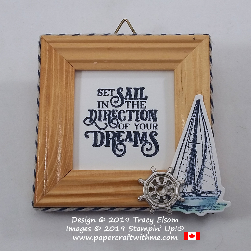 Set sail in the direction of your dreams. Mini twine wrapped frame with yacht image and ships wheel trinket created using the Sailing Home Stamp Set from Stampin' Up!