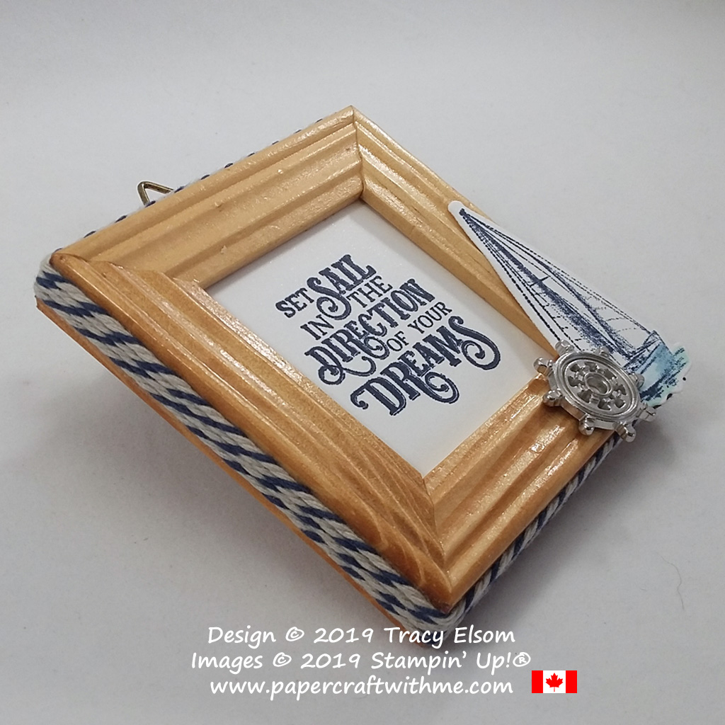 Side view of mini twine wrapped frame with yacht image and ships wheel trinket created using the Sailing Home Stamp Set from Stampin' Up!