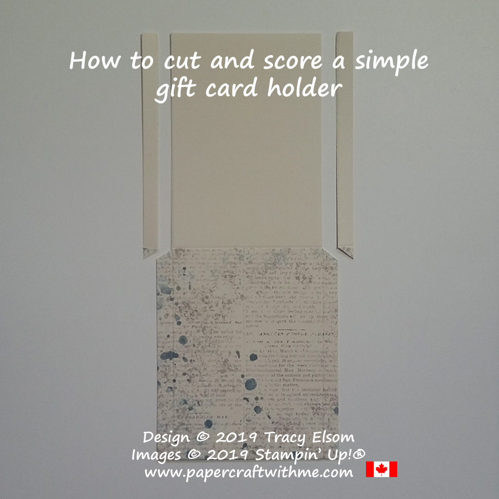 How to cut and score a simple gift card holder (alternate project for the May 2019 Paper Pumpkin Kit - Hugs From Shelli) from Stampin' Up!